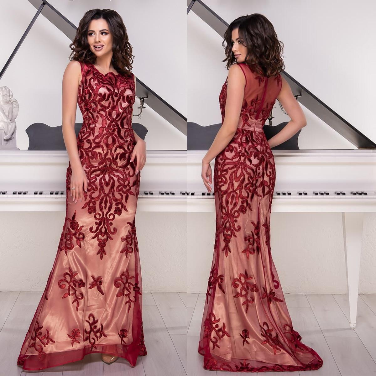 """Бордовое платье в пол со шлейфом вечернее размер S """"Айриш"""""""