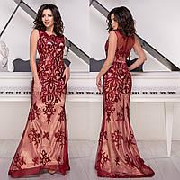 """Бордовое платье в пол со шлейфом вечернее размер S """"Айриш"""", фото 1"""