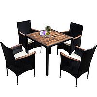 Комплект садовой мебели плетеной из ротанга и акации BAKSA