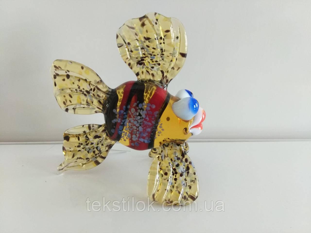 Фигурка стекло Рыбка янтарная