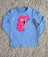 """Детская стильная  хлопковая футболка с длинным рукавом для девочек с поняшкой """"My Little Pony"""""""