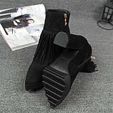 Черные ботинки с бахрамой на высоком каблуке, фото 4