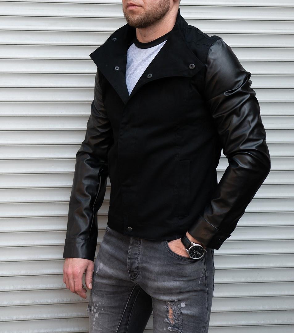 Коттоновая мужская куртка с кожаными рукавами