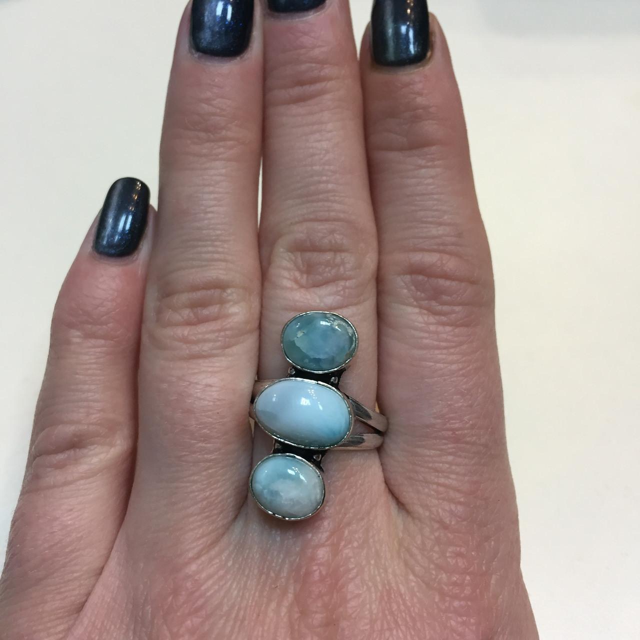 Тройное кольцо ларимар Доминикана 18 размер. Кольцо с камнем ларимар в серебре Индия