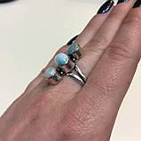 Тройное кольцо ларимар Доминикана 18 размер. Кольцо с камнем ларимар в серебре Индия, фото 3