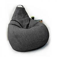 Кресло-груша серое Рогожка, Размер XXL - 140x100