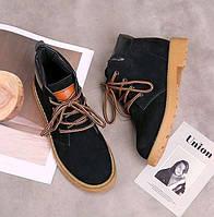 Черные ботинки на рыжей подошве, фото 1