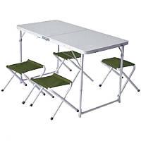 Стол складной туристический Ranger (120х60х80cm) + 4 складных стула TA 21407+FS211, алюминиевая рама