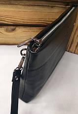 Мужской клатч из искусственной кожи черного цвета, один отдел на молнии, дополнительный отдел, фото 2