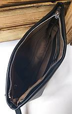 Мужской клатч из искусственной кожи черного цвета, один отдел на молнии, дополнительный отдел, фото 3