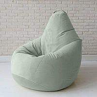 Кресло-груша светло-серое Велюр, Размер XXL - 140x100