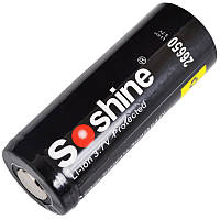 Аккумулятор литиевый Li-Ion 26650 Soshine 3.7V (5500mAh), защищенный