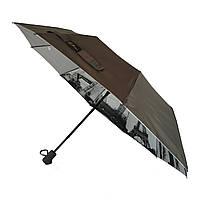 Женский зонтик полуавтомат Bellissimo с узором изнутри и тефлоновой пропиткой, коричневый, 18315-2, фото 1