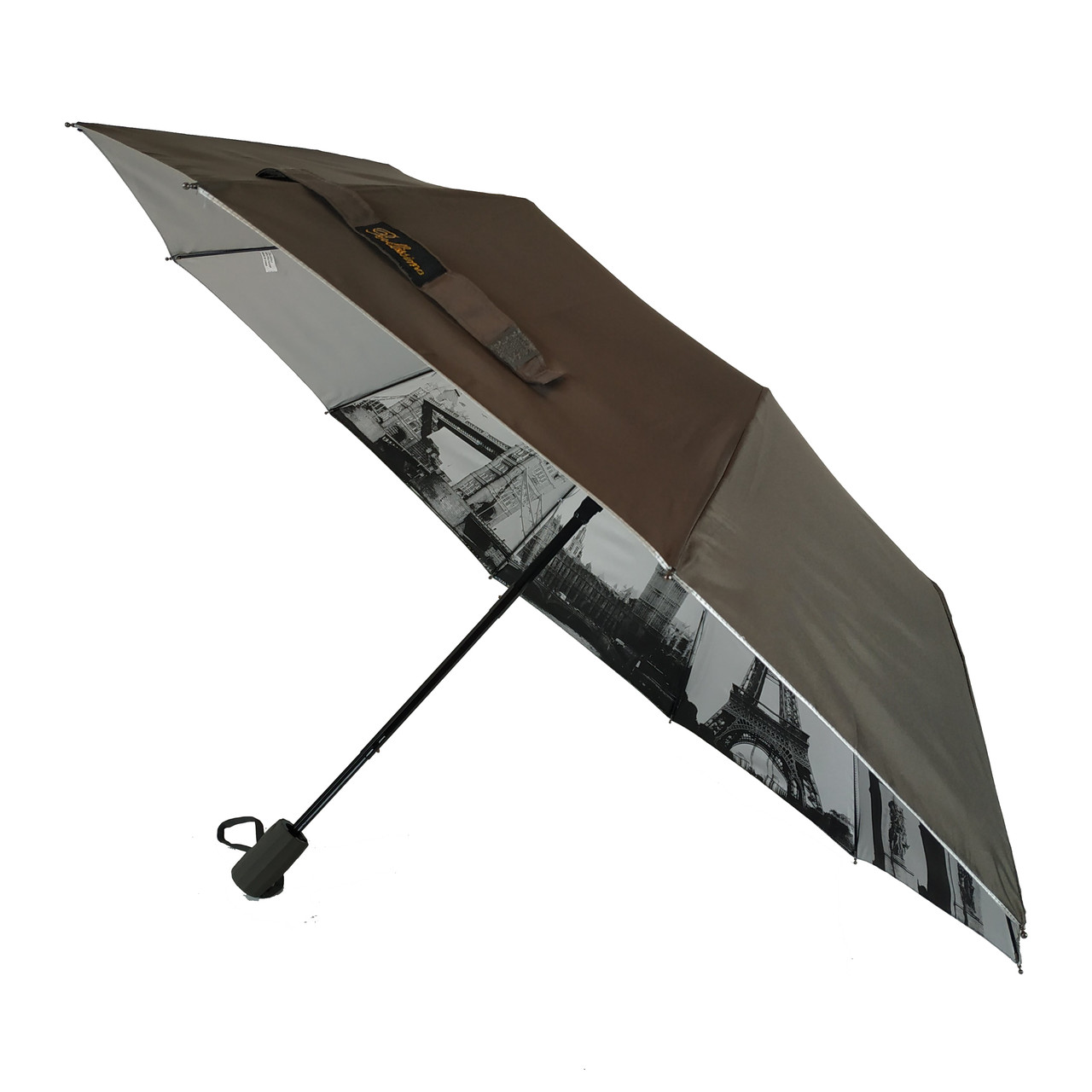 Женский зонтик полуавтомат Bellissimo с узором изнутри и тефлоновой пропиткой, коричневый, 18315-2