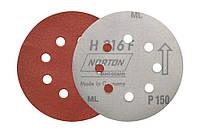 Круги шлифовальные на липучке (фибровые) P150 Norton с перфорацией.