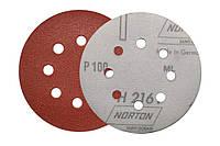 Круги шлифовальные на липучке (фибровые) P100 Norton с перфорацией.