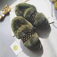 Зеленые зимнее мокасины с мехом и ремешком, фото 1