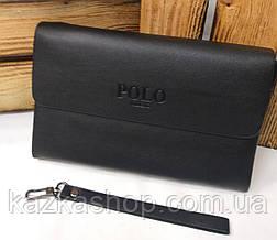 Мужской клатч Polo из искусственной кожи черного цвета, один основной отдел на молнии, магнитный клапан, фото 2