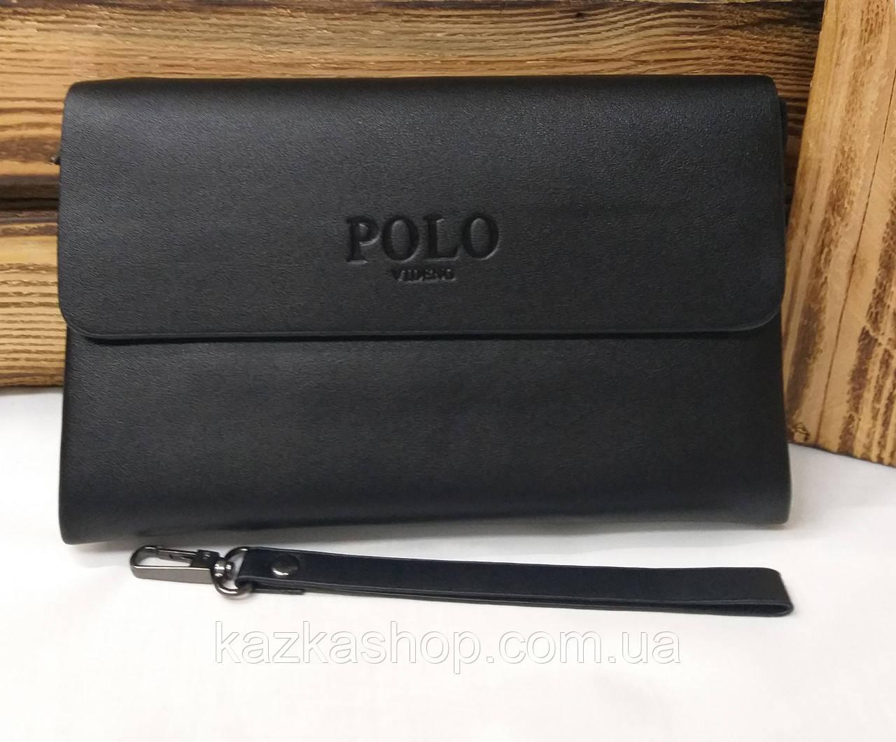 Мужской клатч Polo из искусственной кожи черного цвета, один основной отдел на молнии, магнитный клапан