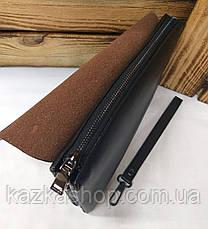Мужской клатч Polo из искусственной кожи черного цвета, один основной отдел на молнии, магнитный клапан, фото 3