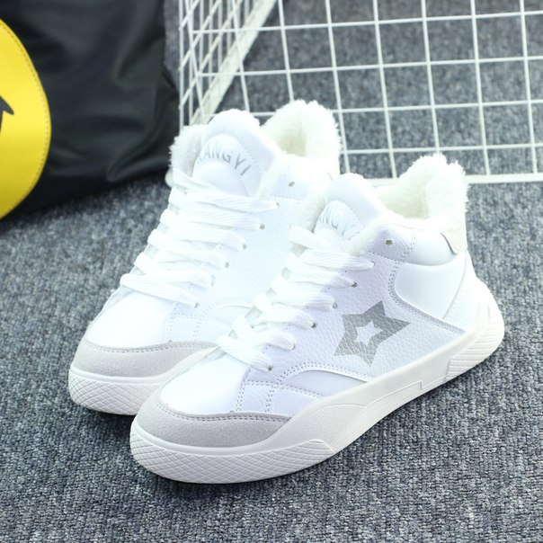 Дешевые женские зимние кроссовки белые
