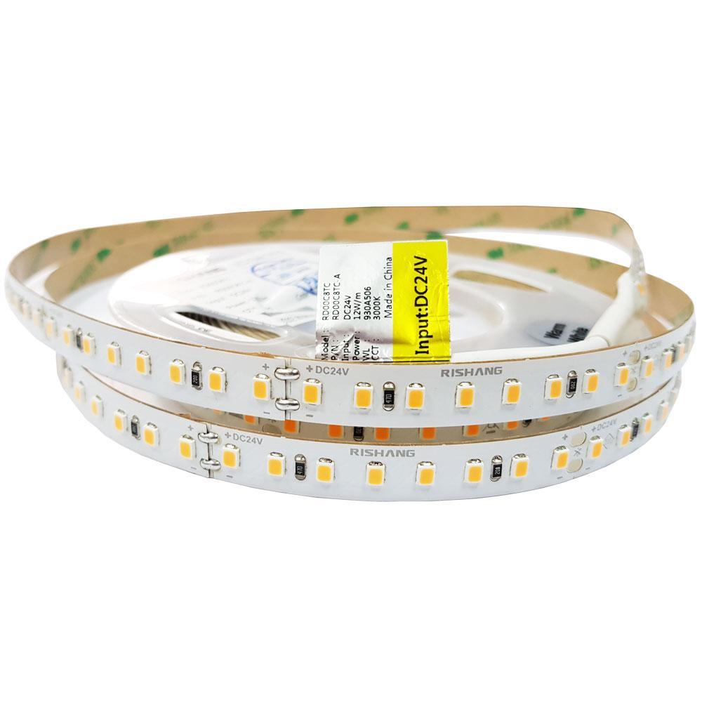 Светодиодная лента RISHANG 2835/128 12Вт 24В IP33 10мм Теплый белый 3000К CRI90