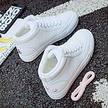 Высокие белые теплые кроссовки с розовым котиком на заднике, фото 4