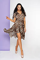Леопардовое платье асимметричное имитация запаха с коротким рукавом принт