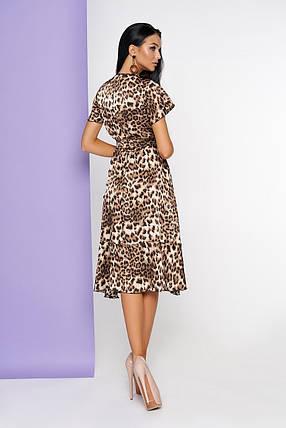 Леопардовое платье асимметричное имитация запаха с коротким рукавом принт, фото 2