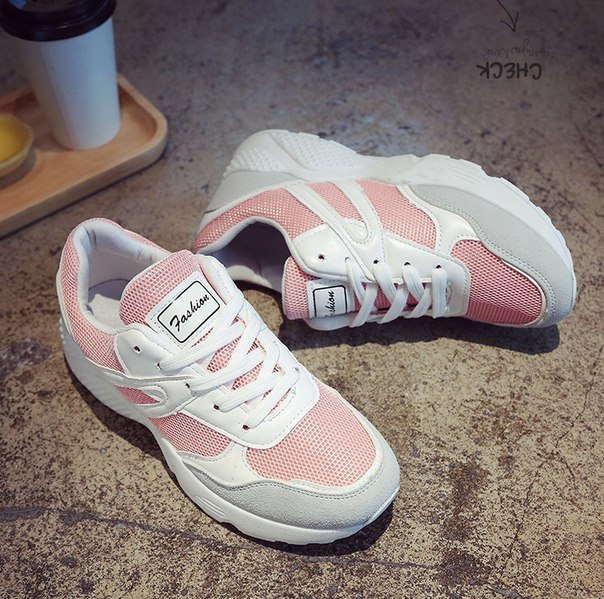 Модные кроссовки для девушек розовые дешевые