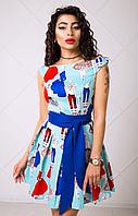Платье с юбкой солнце из хлопка с принтом модницы