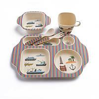 Набор детской посуды из бамбукового волокна (морская тематика)