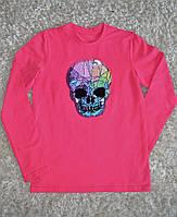Детская стильная  хлопковая футболка с длинным рукавом для девочек с черепом