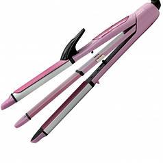 Многофункциональная плойка утюжок для волос 3 в 1 (плойка, утюжок, гофре) Gemei GM-2966 Pink