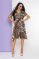 Модное платье асимметричное имитация запаха короткий рукав леопардовый принт
