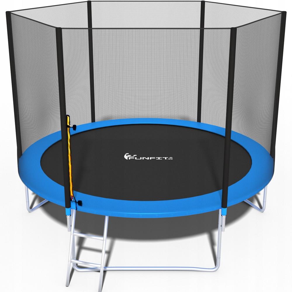 Батут FunFit 252 см для дітей і дорослих з захисною сіткою і драбиною