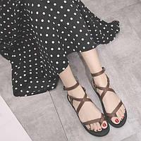 Женские коричневые сандали римские через палец, фото 1