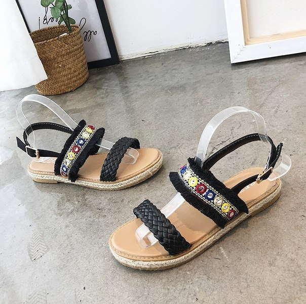 Женские черные сандали для пляжа