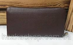 Мужское портмоне из искусственной кожи коричневого цвета, один отдел на молнии, дополнительный отдел, фото 3
