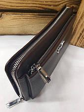 Мужское портмоне из искусственной кожи коричневого цвета, один отдел на молнии, дополнительный отдел, фото 2