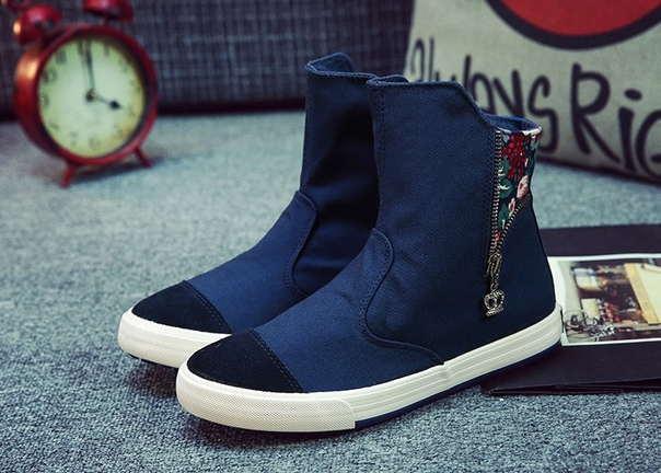 Высокие синие кроссовки с молниями