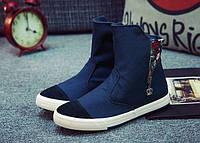 Высокие синие кроссовки с молниями, фото 1