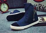 Высокие синие кроссовки с молниями, фото 2