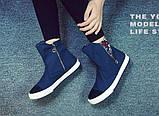 Высокие синие кроссовки с молниями, фото 3