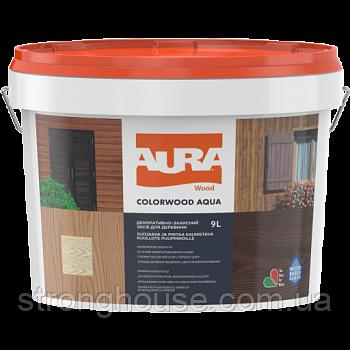 AURA Color Wood Aqua орех Лазурь лак алкидный Аура Колор Вуд Аква для древесины 9л