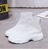 Высокие белые кроссовки в сетку, фото 1