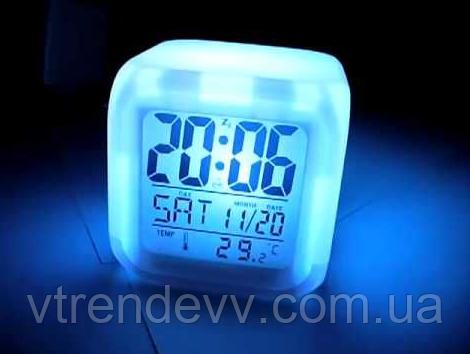 Часы LED Moodicare с будильником и термометром хамелеон
