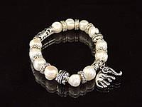 Браслет з річкових перлів,з підвіскою слоник, фото 1