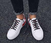 Белые кроссовки на шнуровке с красным задником, фото 1