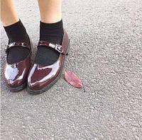 Туфли бордовые на низком ходу с ремешком, фото 1